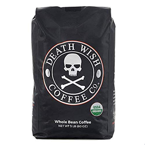 Death Wish Coffee Whole Bean Coffee, The World's Strongest Coffee, Fair Trade and Organic - 5 lb. Bulk Value-Bag