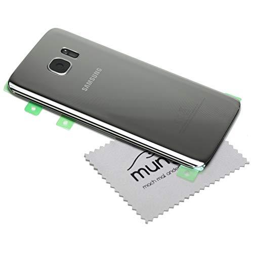 Akkudeckel für Original Samsung für Samsung Galaxy S7 G930F Akkufachdeckel Silber Back Cover mit mungoo Displayputztuch