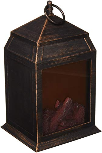 Northpoint North Point Fireplace 6 Super Bright LED'S and 36 Lumen Output Battery Operated Hanging and/Or Sitting Lantern for Indoor and Outdoor Usage, Copper