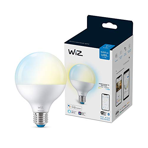 Wiz Bombilla Wifi y Bluetooth LED Regulable Blancos globo G95 75w E27 Luz blanca de cálida a fría, 2700-6500K, 11W (equivale a 75 W), A+