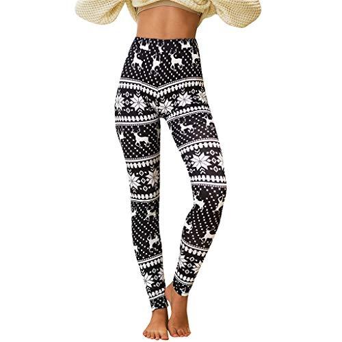 KEYIA Femmes Leggings Loisirs Noël Imprimer Taille Haute Couleur Unie d'hiver Chaud Pantalons Collants Imprimés Flocon Neige Sportswear