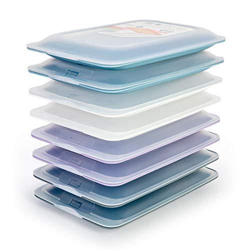 K&G PracticFood - Set mit 8 Wurst- und Lebensmittelträgern Fresh-System, optimale Aufbewahrung von Scheiben im Kühlschrank, Maße 17 x 3.2 x 25.2 cm. 8 Pastel Farben