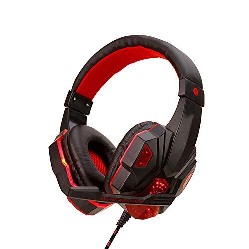 Canjerusof Gaming Headset Auriculares con Cable PS4 Auriculares con micrófono de luz LED montado en la Cabeza para PC Ordenador Teléfono Negro Rojo