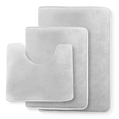 Clara Clark Non Slip Memory Foam Tub-Shower Bath Rug Set, Includes 1 Small Size 17 x 24 in. 1 Large Size 20 X 32 in. 1 Contour Rug 24 x 19 In. - Silver