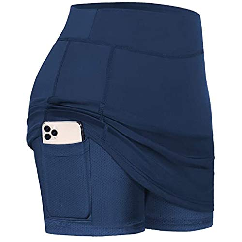 Henwerd Women 2 in 1 Running Shorts Athletic Workout Yoga Liner Shorts with Pockets High Waist Golf Tennis Skirts (Navy,S)