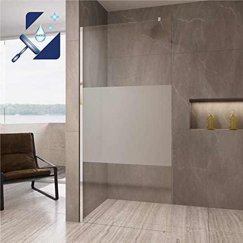AQUABATOS® 110x200 cm Duschwand Glas Duschabtrennung teilsatiniert Milchglas Walk-In Dusche aus Echtglas 10mm ESG-Sicherheitsglas inkl. Nanobeschichtung