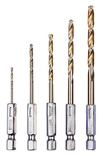 Amtech F1110 Titanium Drill Bit Set, 1/4-Inch, 5-Piece