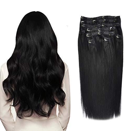 (35cm-55cm) Clip In Extensions 10 Teiliges SET 120g 100{a440ac341f0f53c7b76fb3fa7eba1af9fd626512351a7c82852ec2d8ab76cdd5} Remy Echthaar für Komplette Haarverlängerung glatt Haarteile (1#, Schwarz, 35cm)