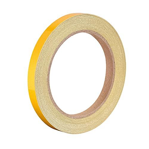 sourcing map Reflectante Cinta Amarillo, 10mm x 25m, Exterior Impermeable Advertencia Cinta para Bicicletas, RV, y Barco Rayas Marcado