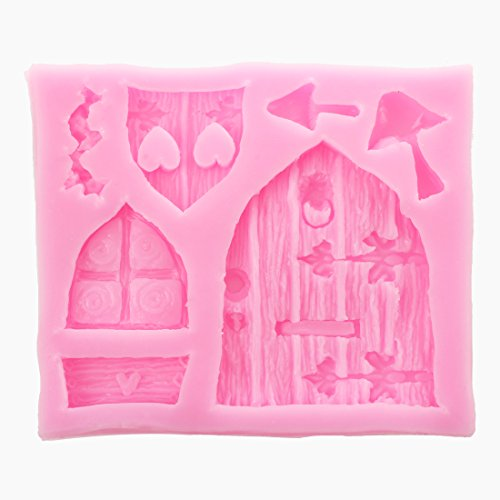 SODIAL Molde de azucarero pastel de chocolate fondant de silicona de puerta de casa de hadas 3D Herramienta de molde