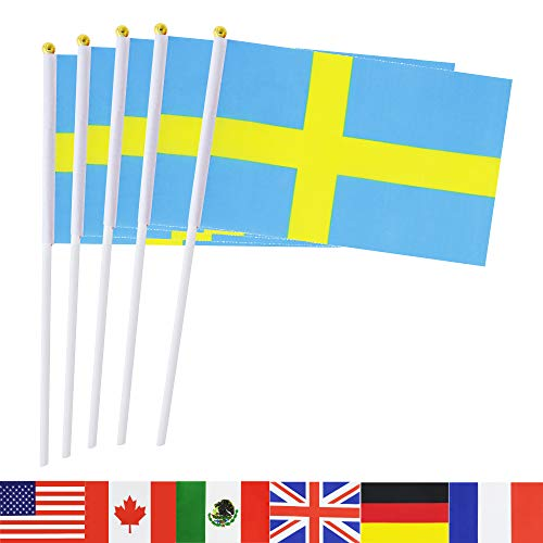 Sweden Stick Flag,TSMD 50 Pack Hand Held Small Swedish National Flags On Stick, International World Country STick Flags Banners,Party Decorations For World Cup,Sports Clubs,Festival Events Celebration