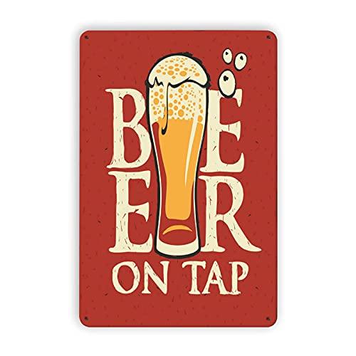 AIVILLE Cerveza en el grifo, signos de metal, accesorios de cerveza para hombres, decoración de cerveza para hombre, cueva de 20 x 30 cm