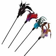 Demarkt 4 Pcs Interactive Cat Toy Funny Feather Toys Play Sticks for Kitten Pet Cat Color Random