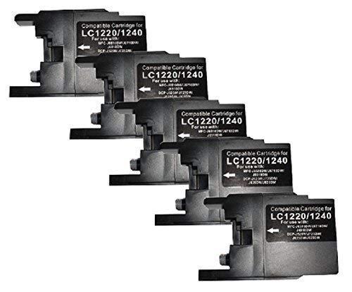 5 Tintenpatronen, Druckerpatronen für Brother Schwarz Black ersetzt LC-1220 LC-1240 LC-1280 DCP-J525W DCP-J725DW DCP-J925DW MFC-J430W MFC-J625DW MFC-J825DW MFC-J5910DW MFC-J6510DW MFC-J6710DW MFC-J6910DW ersetzt LC1220M LC1220C LC1220BK LC1220Y LC1240M LC1240Y LC1240BK LC1240C LC1220M LC1220C LC1220BK LC1220Y LC-1240M LC-1240Y LC-1240BK LC-1240C LC1280BK LC1280C LC1280M LC1280BK