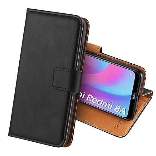 GeeRic Cover Compatibile per Xiaomi Redmi 8A, Flip Case Portafoglio Custodia in Pelle Guscio Cellulare Supporto Chiusura Magnetica,Custodia Compatibile con Xiaomi Redmi 8A Nero