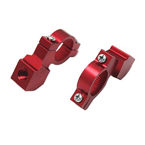 Generic - Par de abrazaderas de manillar para moto, para fijación de retrovisores, montaje para manillar, 22 mm, color rojo