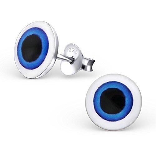 Laimons - Orecchini per bambine e bambini, a forma di occhio di Pupilla, disco in argento Sterling 925