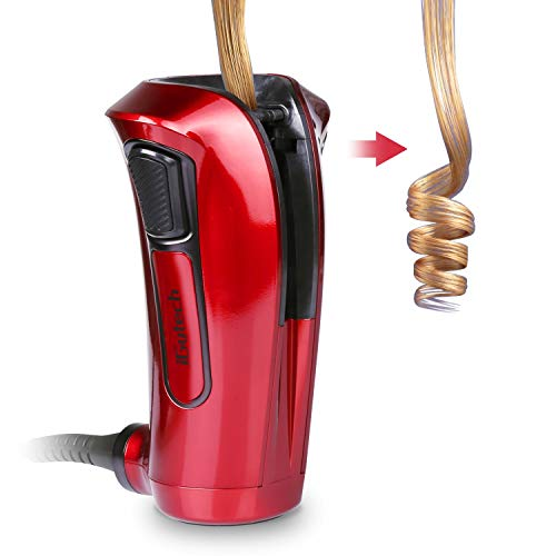 iGutech Rizador de pelo automático con cerámica Turmalina, calentador y monitor LED (Rojo)