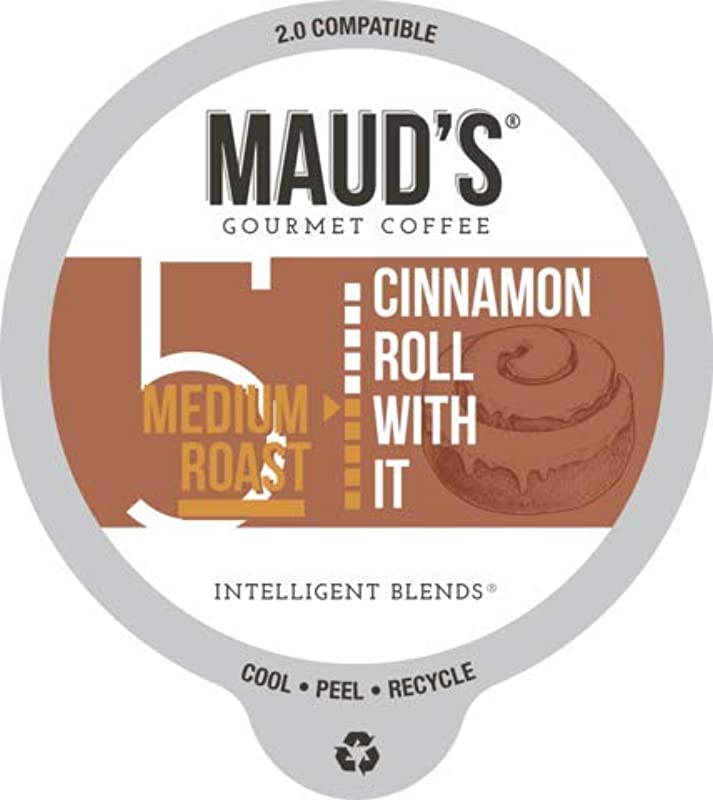 Maud S Cinnamon Roll Flavored Coffee Cinnamon Roll With It 60ct Recyclable Single Serve Coffee Pods Richly Satisfying Arabica Beans California Roasted K Cup Compatible Including 2 0