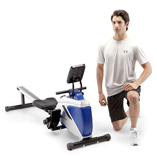 Marcy Foldable Magnetic Rowing Machine with Adjustable Resistance & Transport Wheels ME-1018RE, One Size,Blue