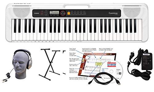 Casio CT-S200WE Paquete de teclado premium de 61 teclas con auriculares, soporte, fuente de alimentación, cable USB de 6 pies y software de instrucción eMedia, blanco (CAS CTS200WE EPA)