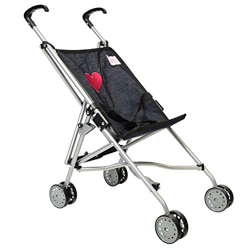 The New York Doll Collection A142 poppenwagen met paraplu, denim, voor peuters, 45,7 cm, zwart