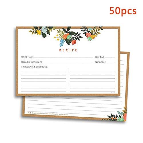 50 PCS Mode Double Face Cartes de Recette Florales pour les événements de pendaison de crémaillère douche nuptiale mariage maison cuisine utiliser 4x6in