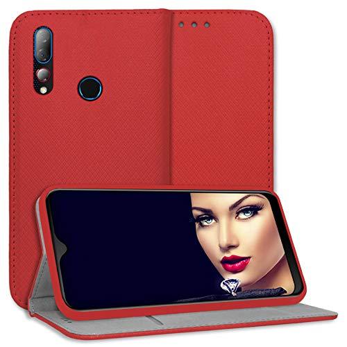 mtb more energy® Schutz-Tasche Bookstyle für HTC Desire 19 Plus (6.2'') - rot - Kunstleder - Klapp-Cover Hülle Wallet Hülle