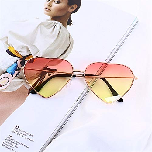 Retro de la moda gafas de sol de las mujeres del corazón vidrios de Sun de la lente de las gafas de sol de aleación femenina montura de las gafas conductor Gafas de accesorios del coche Gafas de sol