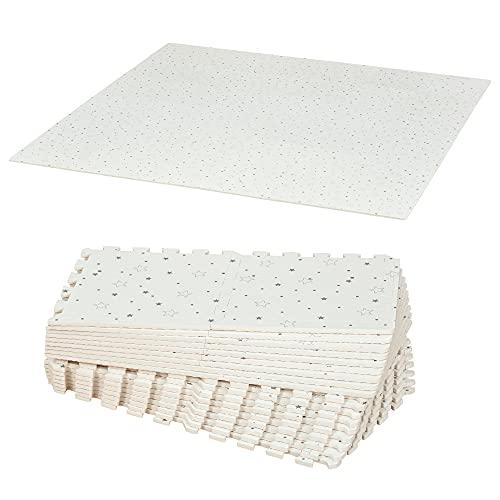 HOMCOM Alfombra Puzzle para Bebés 36 Piezas 31,5x31,5 cm Juego Rompecabezas Infantil Modelo Estrellas de Espuma EVA Área de Cobertura 3,24 m² Blanco