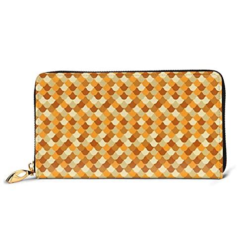 Ahdyr Orange Meerjungfrau Waage Echtes Leder Mädchen Reißverschluss Brieftaschen Kupplung Münze Karte Telefon Geldbörse Für Frauen