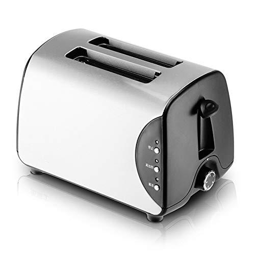 Tostadora 2 rebanadas de máquina de desayuno eléctrica de acero inoxidable totalmente automática con tostadora de rejilla para tostar 5 niveles de potencia de fuego que ensancha la parrilla 750W-St