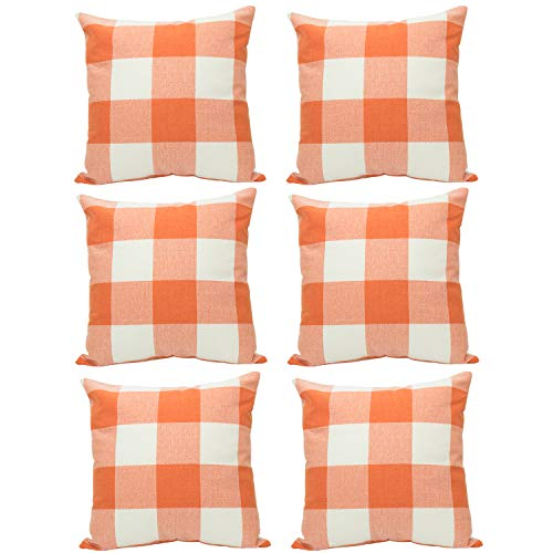 HaiMay 6 Pack 18 x 18 inch Pillow Cover Buffalo Plaid Orange White Check Plaid Cushion Decorative Pillows Cotton Linen Throw Pillow Covers