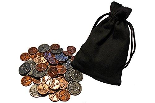 60 Spielmünzen aus Metall - 1er und 5er - Silber und Bronze - im Baumwollbeutel