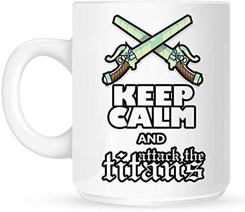 Taza de café Taza de 11 oz Mantenga la calma y ataque a los titanes blancos