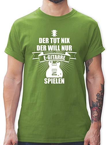 Instrumente - Der TUT nix der Will nur E-Gitarre Spielen - M - Hellgrün - L190 - Tshirt Herren und Männer T-Shirts