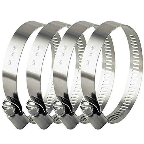 ZIPCCI Hose Clamp, 6 Inch Stainless Steel Worm Gear Fuel line Clamps for Water Pipe, Automotive and Mechanical Application, 141-165mm (4 Pack)