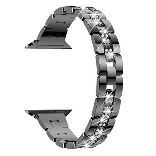 TOWOND Compatible con la banda de reloj 38 mm de 40 mm de la serie 6 5 4 3 2 1, ver la brazalete de la pulsera Bling Band Watch Band Band de acero inoxidable para mujeres, Black 42mm/44mm