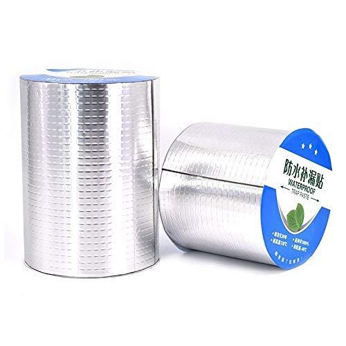 Cinta de Goma de Papel de Aluminio Resistente a Altas temperaturas para reparación de tuberías de Techo Stop Silver Cinta de Sellado súper Fija (tamaño: 5 MX 20 cm)