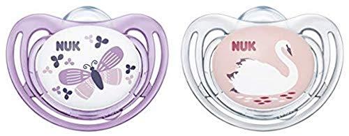 NUK Classic Set mit 2Schnullern für Mädchen, zufälliges Muster, 18-36 Mois
