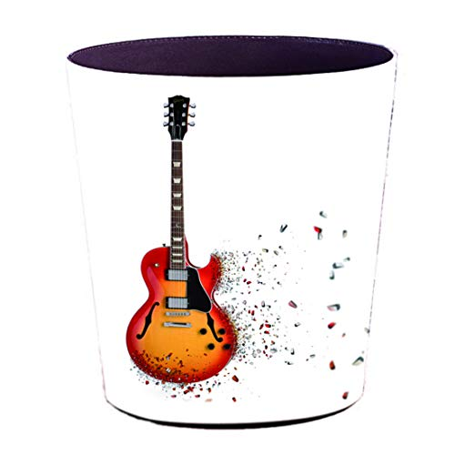 Yamix 10L PU Leather Trash Can Wastebasket Trash Bin Waste Container Bin Garbage Can for Kitchens, Bathrooms, Kids Rooms, Bedrooms, Powder Rooms, Offices (Guitar 1)