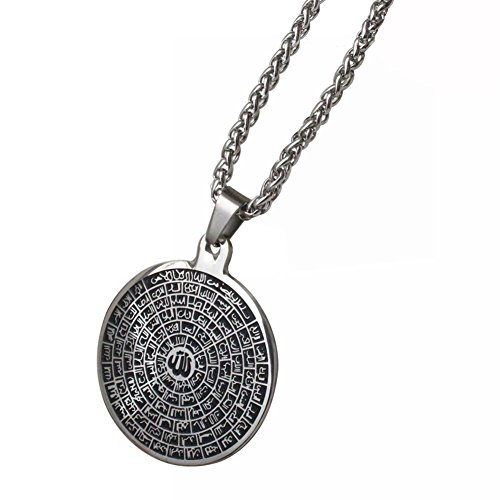 ZKDC Asma-ul-Husna 99 Names of ALLAH stainless steel 60 cm chain necklace for man women Islamic muslim jewelry