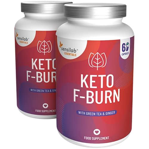Keto F-Burn mit Grüner Tee und Ingwer-Extrakt - Ideal bei Keto-Diät, für Männer und Frauen - Natürliche Zutaten - 120 (2x60) Vegane Kapseln von Sensilab