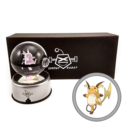 ScrewyRobot Crystal Ball 3D Night Light Color Changing Lamp 80mm (Raichu)