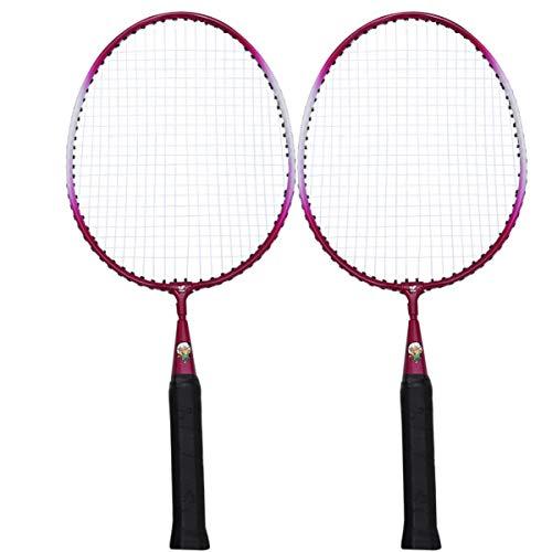 IMIKEYA Set of 2 Badminton Racket Leisure Childrens Outdoor Badminton Set Light Weight Portable Badminton Racket Set (Pink, 46cm)