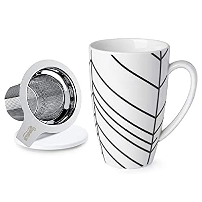 Sweese 201.203 Porcelain Tea Mug with Infuser and Lid, 15 OZ, Branch