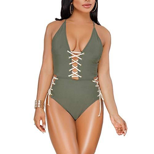 JJHR Bodysuit Tiefer V-Ausschnitt Schnür-Body Backless Damen Bodys Sommer Kurz Elegant Jumpsuit Damen Strampler, M