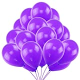 50 Globos Violeta Brilante de Látex de 36 cm. Globo Violeta por Helio de 3,2g. Decoraciones y Accesorios para Fiesta de Cumpleaño