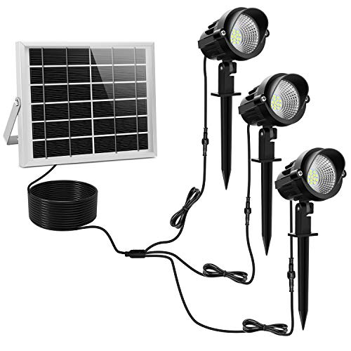 MEIKEE 15 LED Faretti Solari, Impermeabile IP66 LED Faretto per Giardino, Regolabile Lampade Solari LED da Esterno, Faretto Solare per Giardino, Backyards, Prato, Parete, Luce bianca, 3 Pezzi