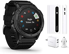 Garmin tactix Delta Solar, Solar-Powered Specialized Tactical Watch, Ruggedly Built to Military Standards (010-02357-10) and Texel 10,000mAh Portable Battery Pack, Wall and Car Charger Bundle